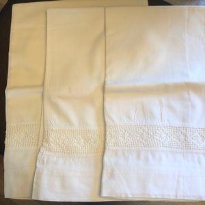 Antique pillowcases with needlework